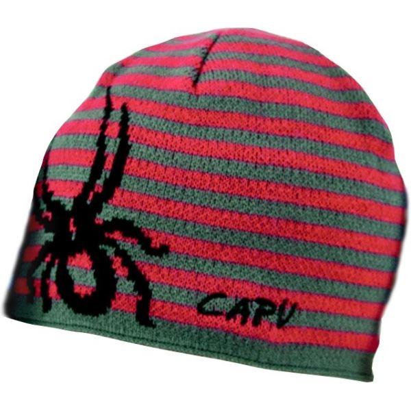 Zimní čepice CAPU 15761 červená/šedá