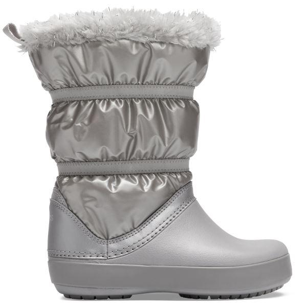 Dětské zimní boty Crocs CROCBAND LodgePoint Metallic Boot stříbrná