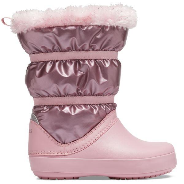 Dětské zimní boty Crocs CROCBAND LodgePoint Metallic Boot růžová