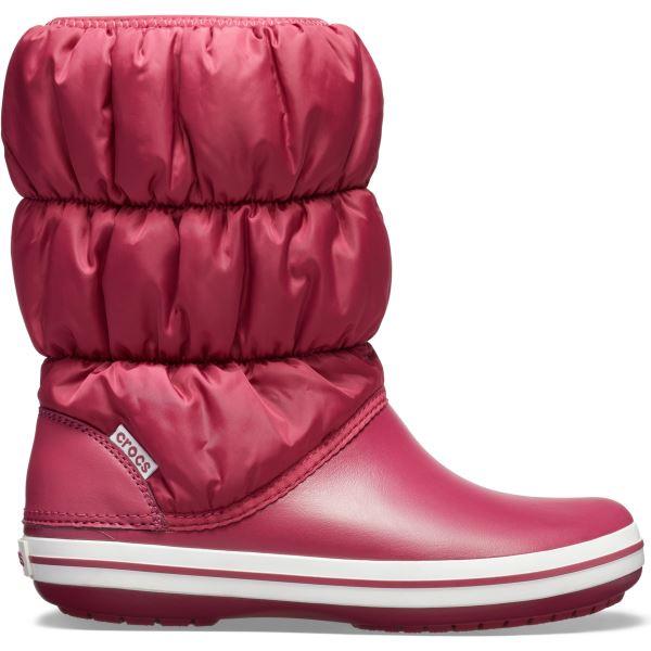Dámské zimní boty Crocs WINTER PUFF BOOT granátově červená/bílá