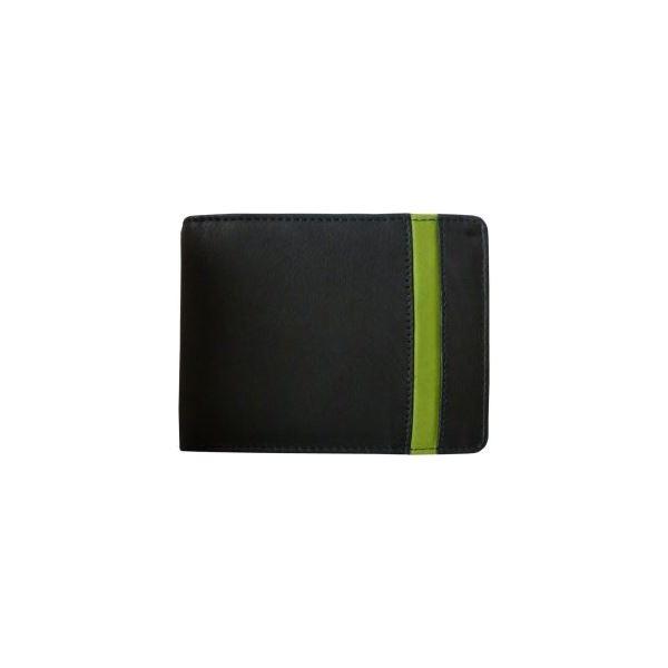 Pánská kožená peněženka WFY 471 černo/zelená