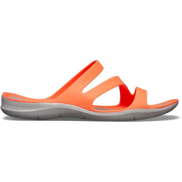 Dámské pantofle Crocs SWIFTWATER Sandal W korálově oranžová/šedá
