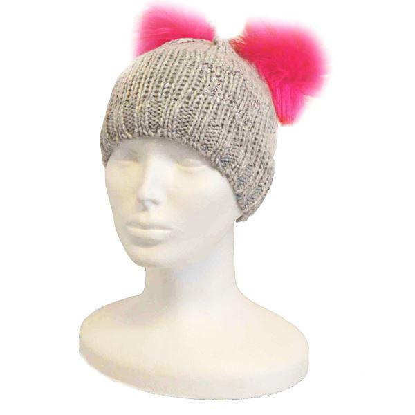 Dětská zimní čepice CAPU D360 šedá/růžová