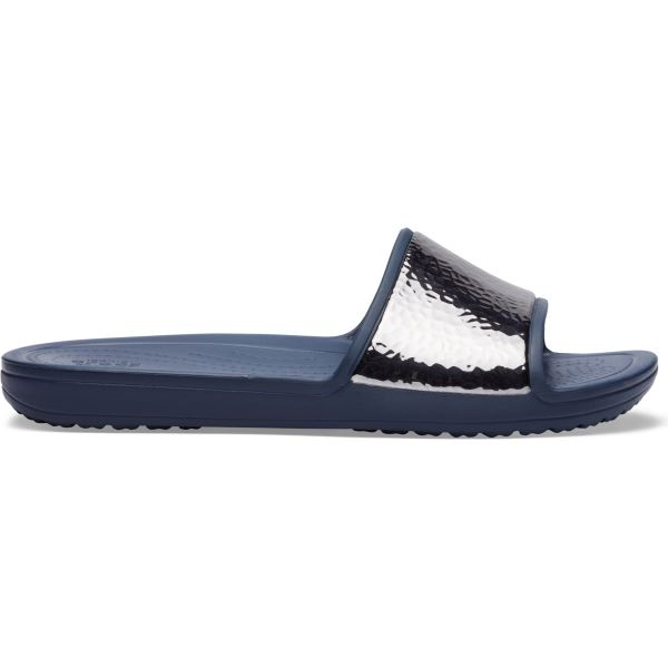 Dámské pantofle Crocs SLOANE HAMMERED Met Slide tmavě modrá