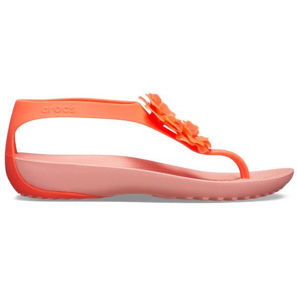 Dámské žabky Crocs SERENA Embellish Flip W Bright melounově růžová/oranžová